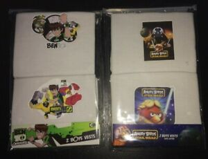 2 Packs - 4  BOYS New BEN 10 & STAR WARS Angry Birds Vests WHITE  3 - 4 years