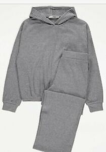 NEW GIRLS KIDS GREY RIB KNIT HOODIE & JOGGERS OUTFIT  LOUNGE WEAR 12-13 Years
