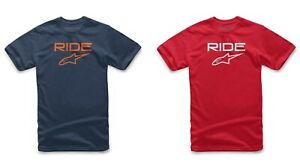 YOUTH KIDS ALPINESTARS RIDE 2.0 TEE T-SHIRT S M L NAVY / ORANGE RED / WHITE