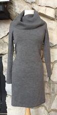Ralph Lauren Blue Label 100% Merino Wool Gray Cowl Neck Sweater Dress Sz M