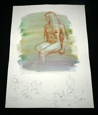 Hawaii Mixed Media Wash Painting Seated Female Nude by Snowden Hodges(Sho)#101