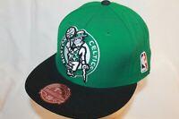 Boston Celtics Hat Cap XL Logo Fitted Green Black Cap Mitchell & Ness NBA