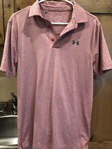 Under Armour Mens Heat Gear UPF 30 Golf Polo Size Small Grey Red Orange Heather