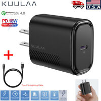 QC3.0/4.0 PD 18W Fast Charging Type-C Charger Wall Power Adapter US Plug Black