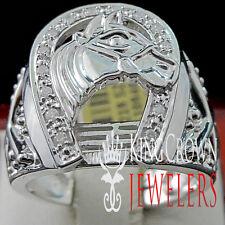 Real Diamond Mens Goodluck Horseshoe Lucky Pinky Ring Band 14K White Gold Finish