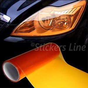 Film Adhésif Coloré Orange Phares Feux Auto Moto Camion 25x30