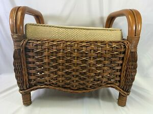 Vintage Retro  Cane Bamboo Rattan Footstool Seat Stool With Cushion