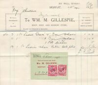 Wm. M. Gillespie Moffat 1930 Boot+Shoe Store Paid Invoice Stamps Receipt Rf41237
