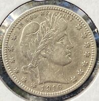 1916 D Barber Quarter AU++ Rare U.S. .25 Silver Coin