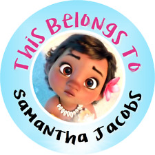 Personalized Baby Moana Property Stickers school books Name tags Labels Round