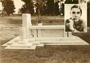 """Tomb of Tyrone Power Hollywood Forever Cemetery Postcard 7"""" x  5"""" Memorial Park"""