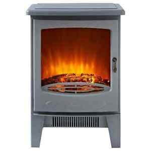 Blaupunkt GREY ELECTRIC STOVE FIRE HEATER FLAME LED LOG EFFECT FREESTANDING