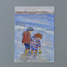 More details for mm210 fun at studland mystery masterpieces art postcard seascape blue 15x10.5cm