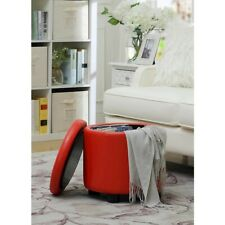 Convenience Concepts Designs4Comfort Round Accent Storage Ottoman, Red - 163523R