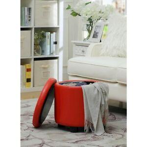Convenience Concepts Designs4Comfort Round Accent Storage Ottoman, Red - 163523R