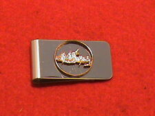 Hand cut New Jersey state quarter 24 kt gold plated and mounted as a money clip