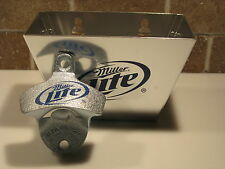 Miller Lite Light Wall Bar Pub Stationary Starr X Bottle Opener & Cap Catcher