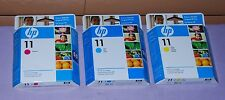Set of 3 Genuine HP 11 Cyan, Magenta & Yellow Ink Cartridge - New Sealed
