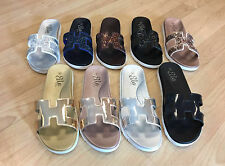 Ladies Womens Slip On Footbed Metallic Glitter Sliders Mules Ella Sandals Size