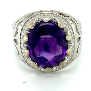 Amethyst 8.90ct Platinum Finish Solid 925 Sterling Silver Ring Natural Untreated