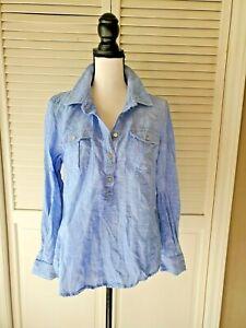 Vineyard Vines blue linen cotton blend popover shirt Top Blouse Size 10