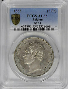 Belgium 1853 5 Fr. PCGS AU53 Gold Shield. KM X# 2.1