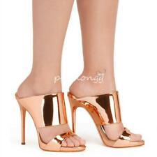 Damenschuhe Stiletto Slipper Gr.45 Sexy Glitzer Peeptoe Pantoletten High Heels