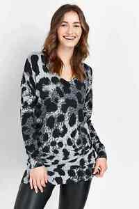 Bnwt Wallis Grau Tiermotiv verzierte Pullover Größe 12