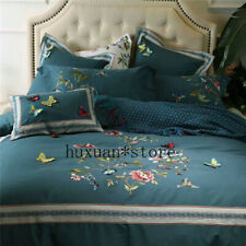 Luxury Egypt Cotton Sanding Stereo Butterfly Bedding Set Cover Sheet King Size