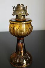 Vintage Turkey Foot Stand Kerosene/Oil Lamp Amber Colored Glass - E Miller Venus