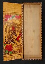 ANTIQUE * Wooded Hand Pyrography Pencil Box * COWGIRL + Painted ROSES Theme