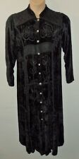 WOW velvet maxi button dress or duster UK up to 14 US 12 EU 42 hippy boho (ALT)
