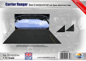 Coastal Kits 1:72 Carrier Hangar Base & Background with attachment clips