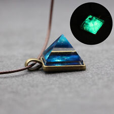 Chic Pyramid Rhinestone Starry Sky Glow In The Dark Pendant Charm Necklace Gift