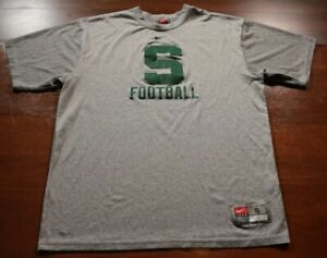 Vintage Michigan State University Spartans T-Shirt Nike Shirt S Gray Fit Dry