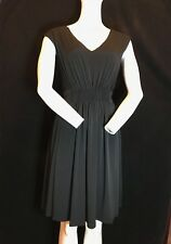 BNWT DKNY Cap Sleeve V Neck Pleated Front Detail Little Black Dress UK 14