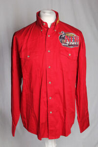 Wrangler NFR Pro Rodeo Logos Red Long Sleeve Western Horse Shirt Large VGC!