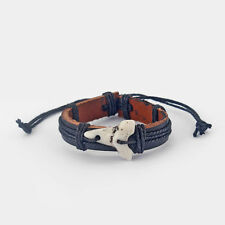 1 x Black Leather With White Shark Tooth Teeth Surfer Wristband Bracelet Bangle