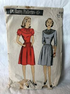 Vintage DuBarry Du Barry Sewing Pattern 6136 UNCUT 1945 Dress Sz 12 Bust 30 USA
