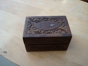 "VINTAGE HAND CARVED TEAK WOODEN BOX WITH HINGED LID,  BRASS INLAY DETAIL 5"" LONG"