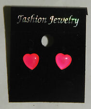 NEON Pink Love Heart Earrings Stud fixig