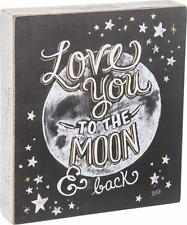 "NEW Primitives By Kathy 9"" Moon & Back Chalk Box Sign 29325 Home Decoration"