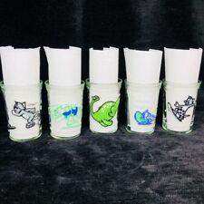 Vintage Lot of 5 Welchs Jelly Jam Jar Juice Glasses Tom and Jerry Brontosaurus