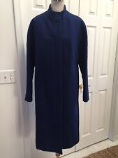 Cobalt Blue Coat Full 2 Way Zip Wool Blend Trench Coat 6 tall Mint!