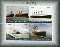 Chad 2018 CTO Titanic 4v M/S II Boats Ships Nautical Stamps