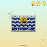 HERTFORDSHIRE County Flag With Name Embroidered Iron On Sew On Patch Badge
