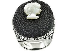 CAMEO STINGRAY LEATHER RING Size 7 Sterling Silver MOTHER OF PEARL- 13 Grams