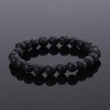 Fashion Jewelry Gift Beads Bracelet Elastic Unisex Black Lava Stone