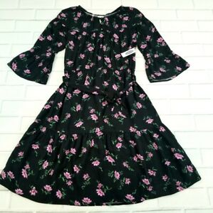 Old Navy Floral Black 3/4 Sleeve Dress With Belt Dress PLUS Size XXL Girls