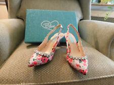 Blue by Betsey Johnson Womens Cici Flower Pink Bling Satin Slingbacks Heels EUC